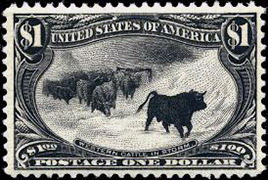 1898 $1 western cattle in a storm stamp
