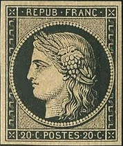 French first stamp - Ceres with a cluster of grapes in her hair
